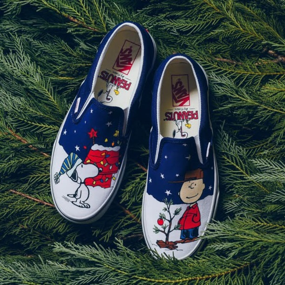 Vans Other - Vans x Charlie Brown Christmas Youth Sz 4 Slip On